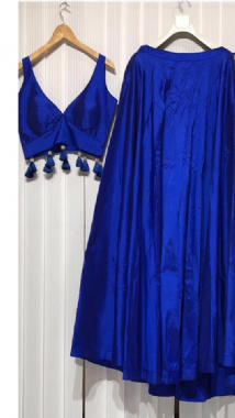 Royal Blue Lehenga With Tassel Blouse